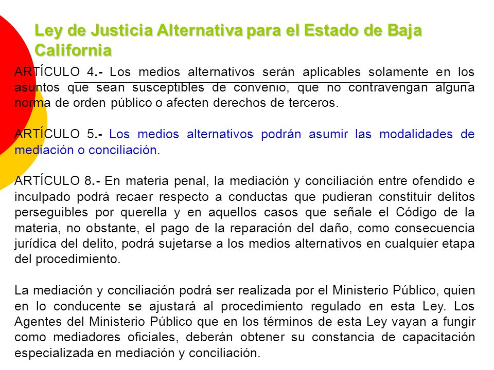 Ley de Justicia Alternativa para el Estado de Baja California