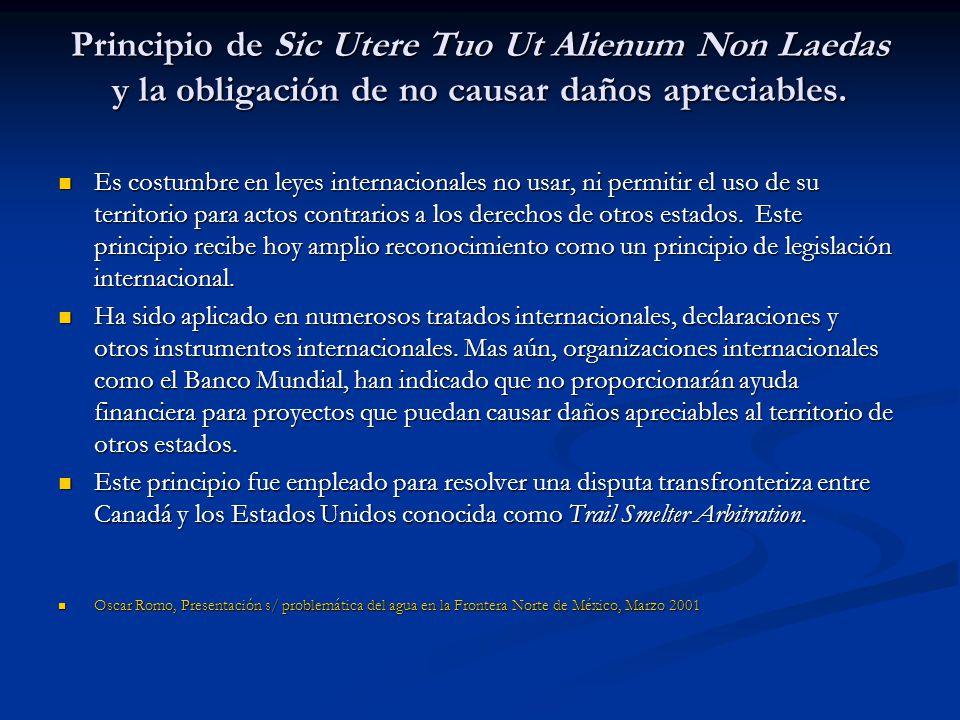 Principio de Sic Utere Tuo Ut Alienum Non Laedas y la obligación de no causar daños apreciables.