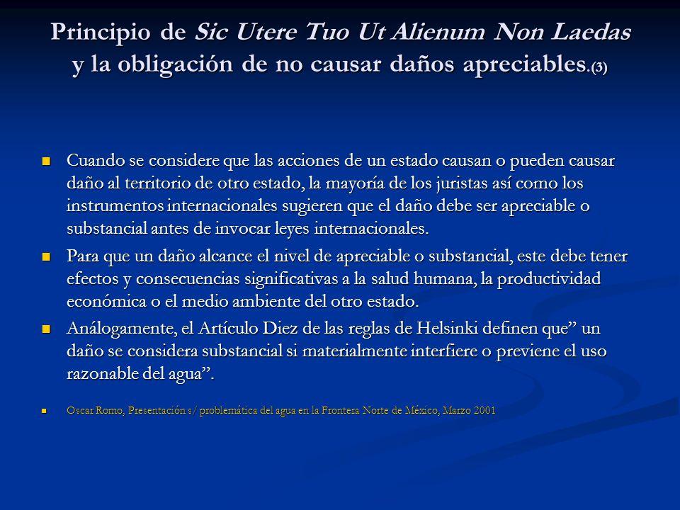 Principio de Sic Utere Tuo Ut Alienum Non Laedas y la obligación de no causar daños apreciables.(3)