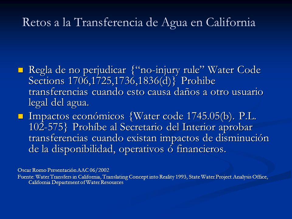 Retos a la Transferencia de Agua en California