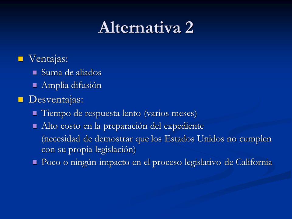 Alternativa 2 Ventajas: Desventajas: Suma de aliados Amplia difusión