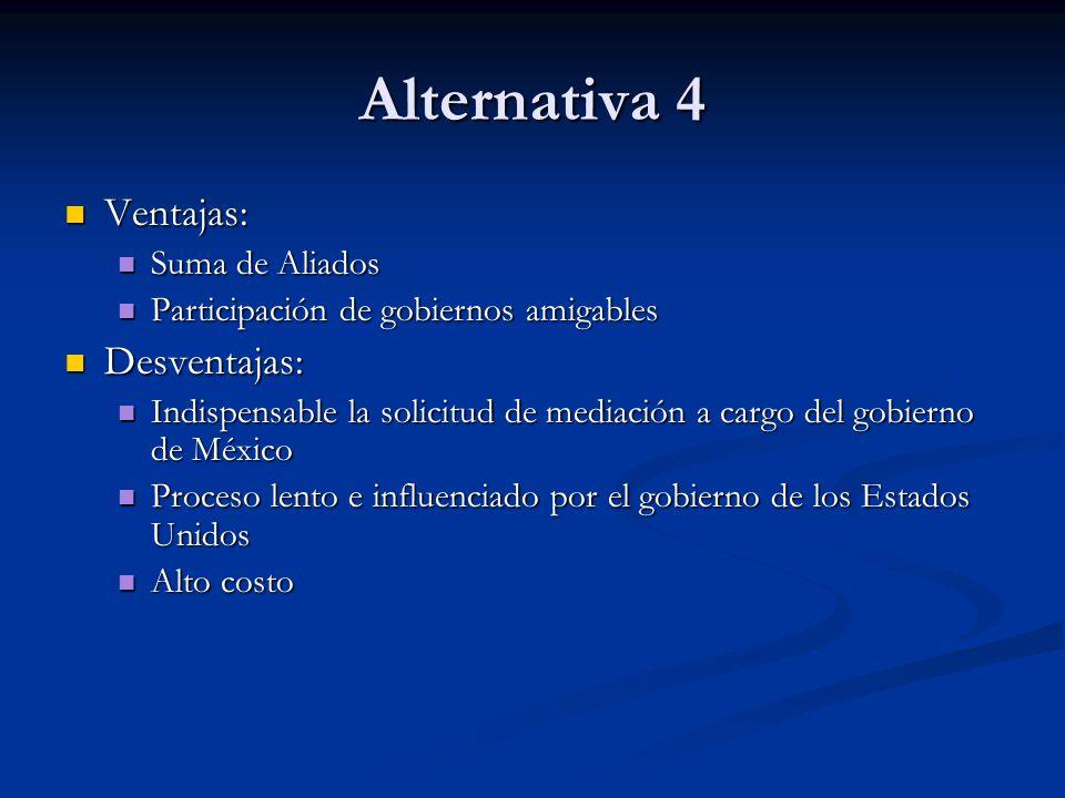 Alternativa 4 Ventajas: Desventajas: Suma de Aliados