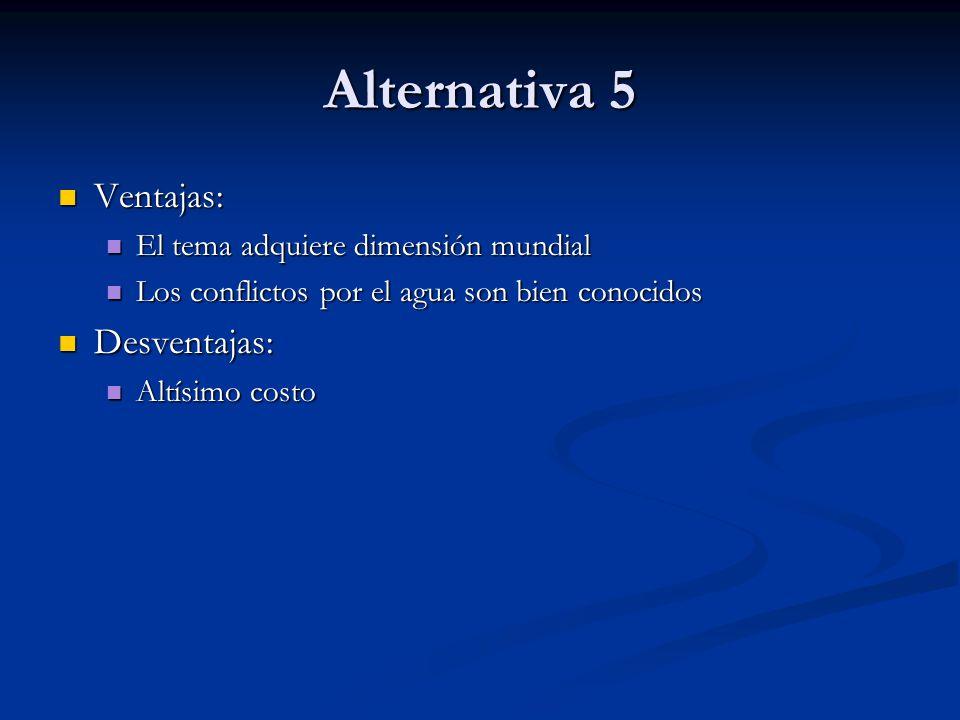 Alternativa 5 Ventajas: Desventajas: