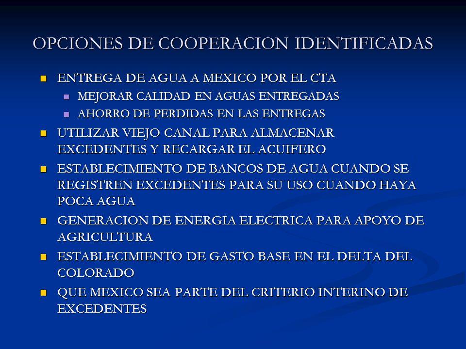 OPCIONES DE COOPERACION IDENTIFICADAS