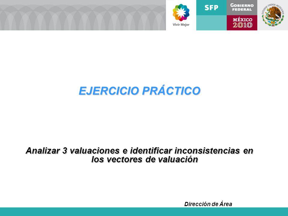 EJERCICIO PRÁCTICO Analizar 3 valuaciones e identificar inconsistencias en los vectores de valuación.