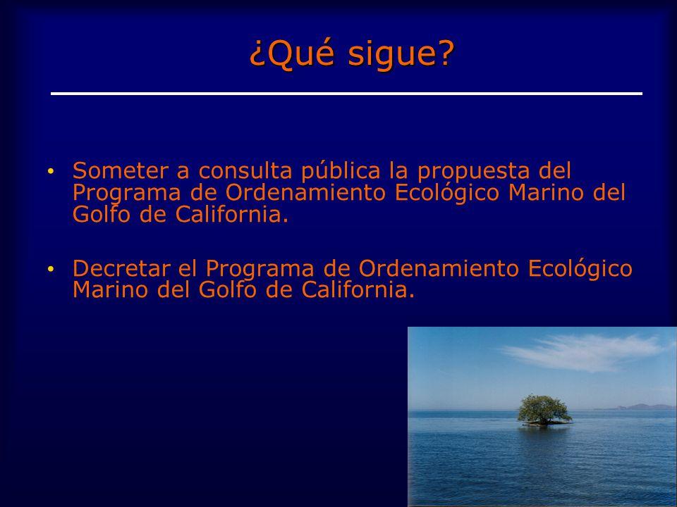 ¿Qué sigue Someter a consulta pública la propuesta del Programa de Ordenamiento Ecológico Marino del Golfo de California.