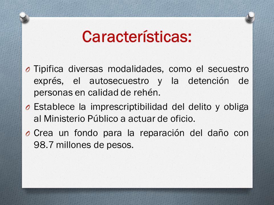 Características: Tipifica diversas modalidades, como el secuestro exprés, el autosecuestro y la detención de personas en calidad de rehén.