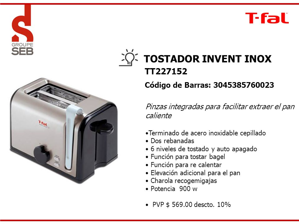 TOSTADOR INVENT INOX TT227152 Código de Barras: 3045385760023