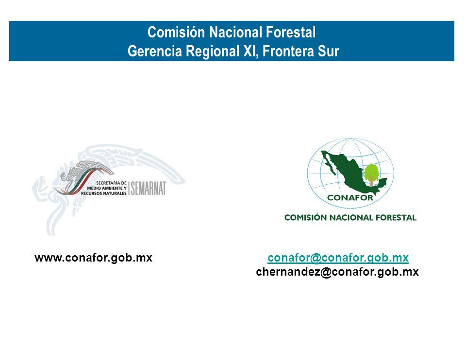 Comisión Nacional Forestal Gerencia Regional XI, Frontera Sur
