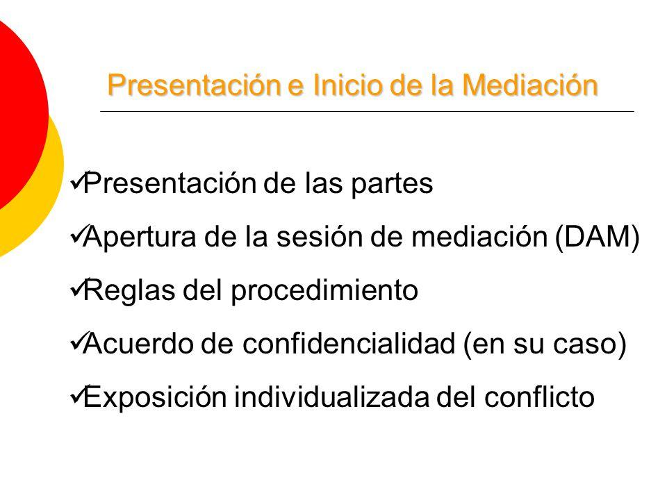 Presentación e Inicio de la Mediación