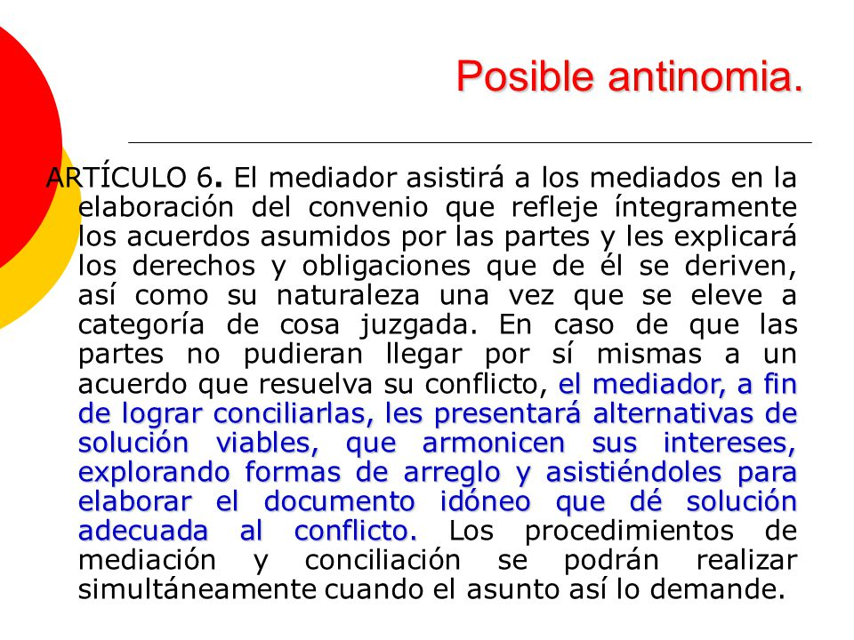 Posible antinomia.