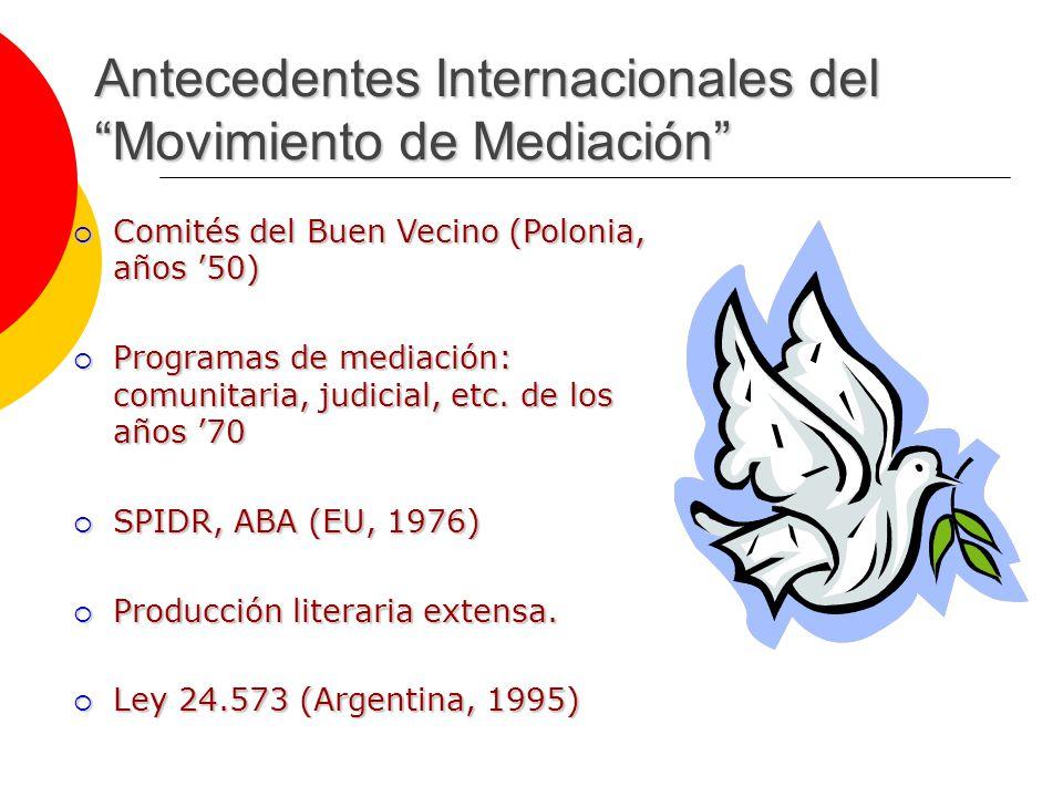 Antecedentes Internacionales del Movimiento de Mediación