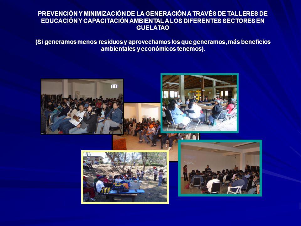 PREVENCIÓN Y MINIMIZACIÓN DE LA GENERACIÓN A TRAVÉS DE TALLERES DE EDUCACIÓN Y CAPACITACIÓN AMBIENTAL A LOS DIFERENTES SECTORES EN GUELATAO
