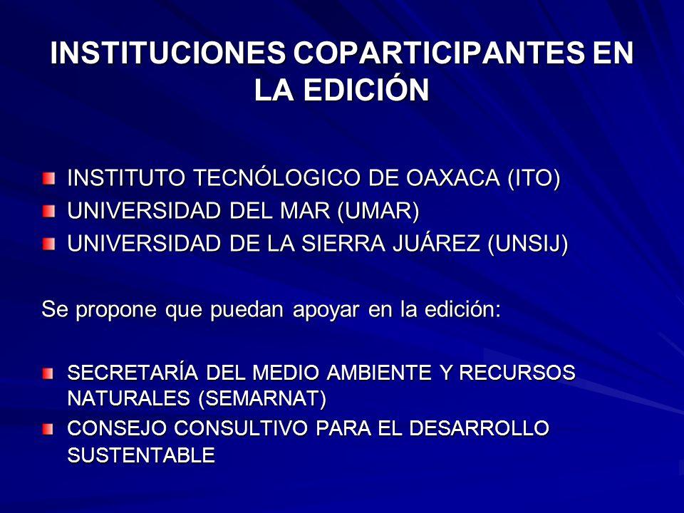 INSTITUCIONES COPARTICIPANTES EN LA EDICIÓN