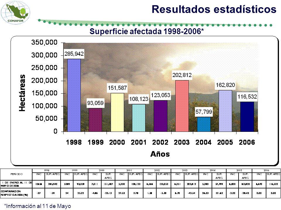 Resultados estadísticos Superficie afectada 1998-2006*