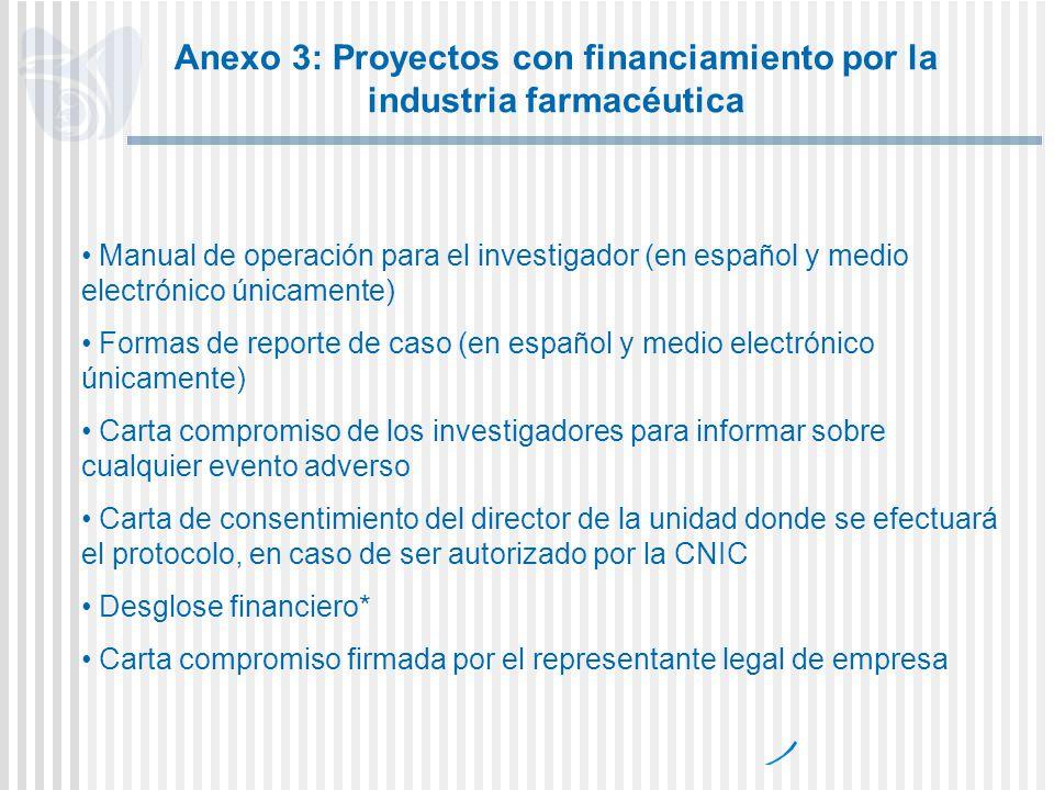 Anexo 3: Proyectos con financiamiento por la industria farmacéutica
