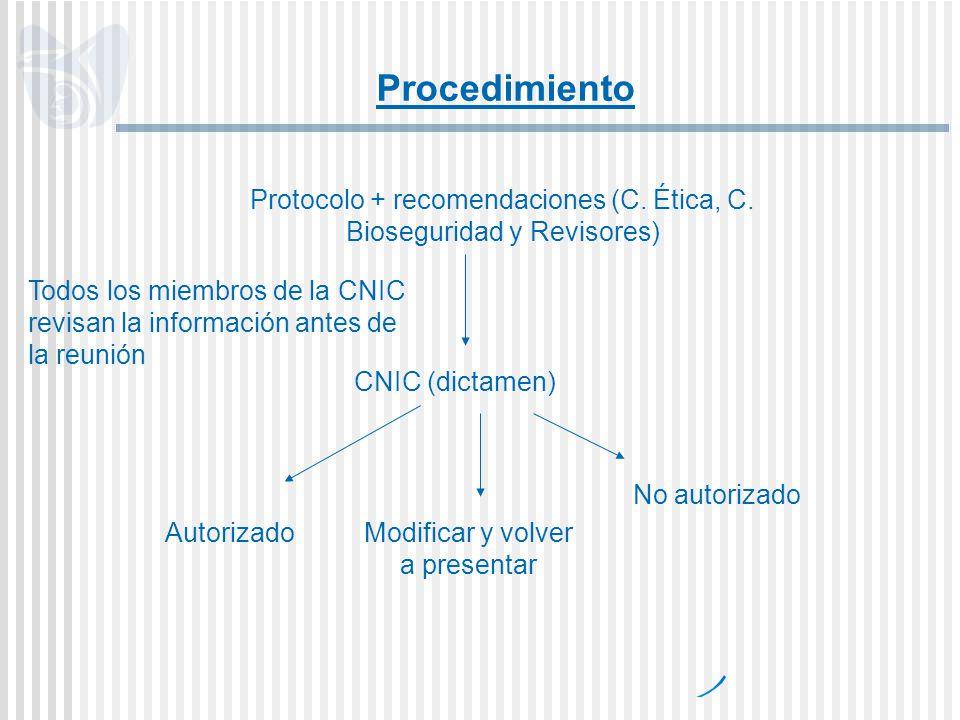 Procedimiento Protocolo + recomendaciones (C. Ética, C. Bioseguridad y Revisores)