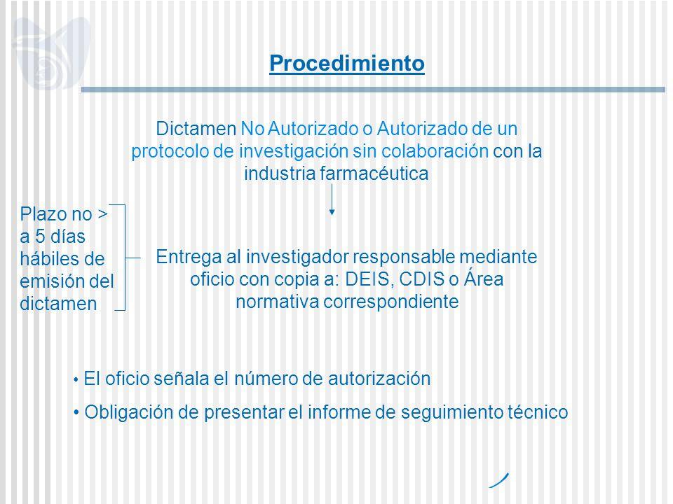 Procedimiento Dictamen No Autorizado o Autorizado de un protocolo de investigación sin colaboración con la industria farmacéutica.