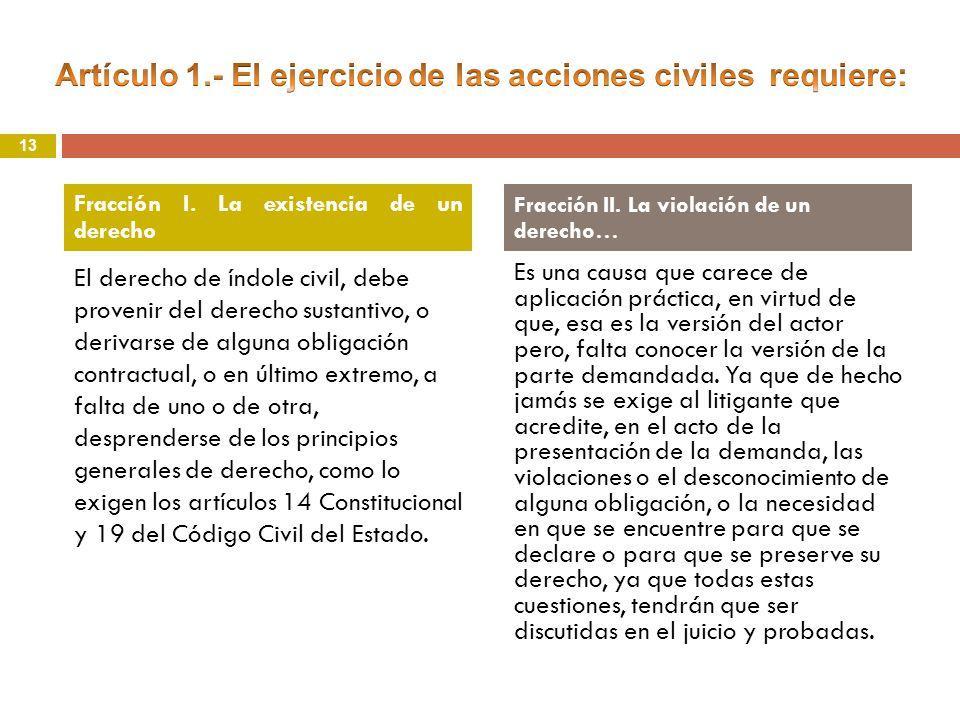 Artículo 1.- El ejercicio de las acciones civiles requiere: