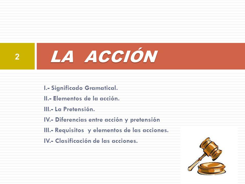 LA ACCIÓN I.- Significado Gramatical. II.- Elementos de la acción.