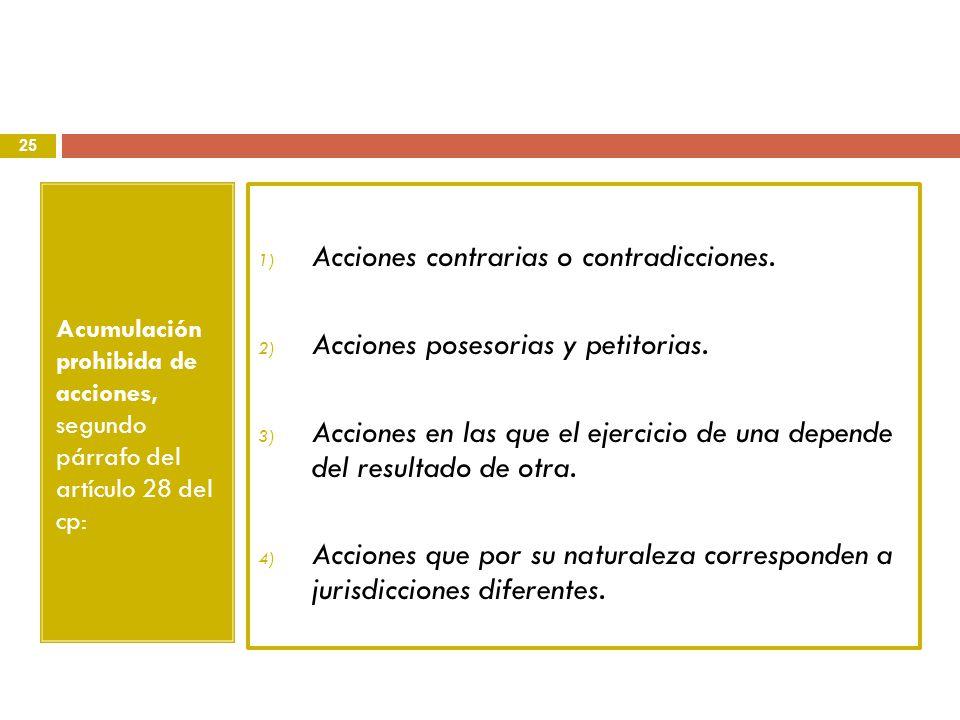 Acciones contrarias o contradicciones.