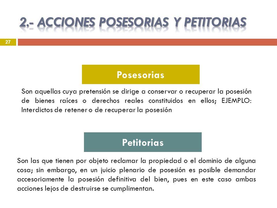 2.- ACCIONES POSESORIAS Y PETITORIAS