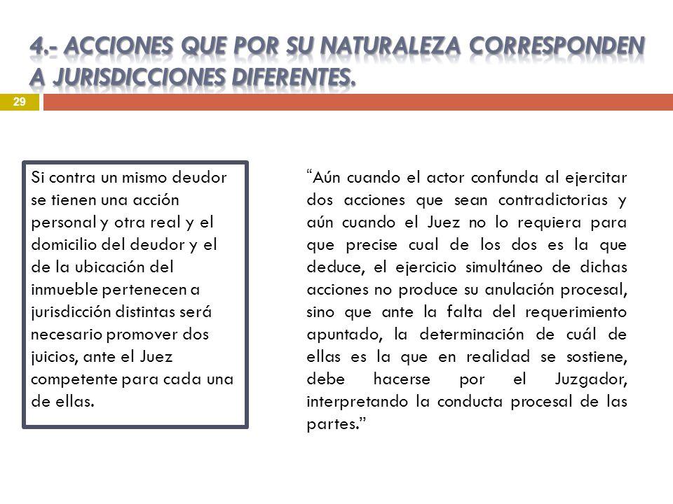 4.- ACCIONES QUE POR SU NATURALEZA CORRESPONDEN A JURISDICCIONES DIFERENTES.