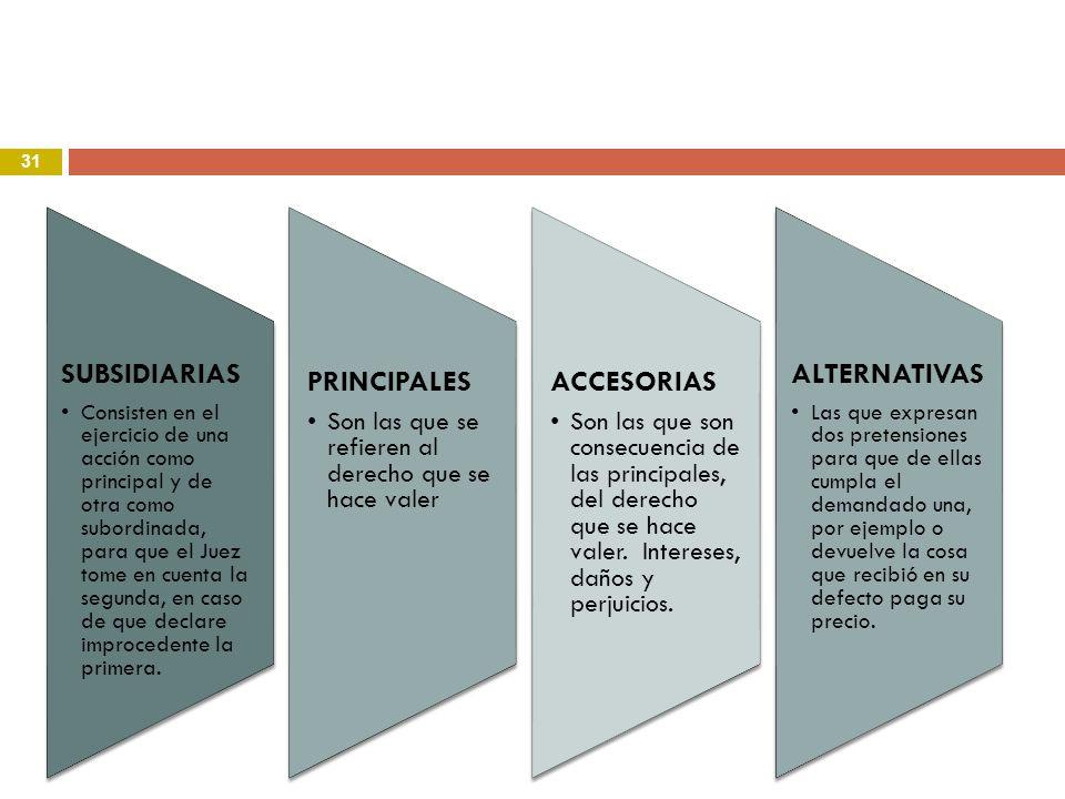 PRINCIPALES ACCESORIAS SUBSIDIARIAS ALTERNATIVAS