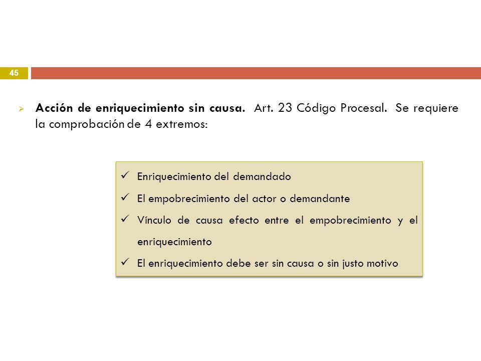 Acción de enriquecimiento sin causa. Art. 23 Código Procesal