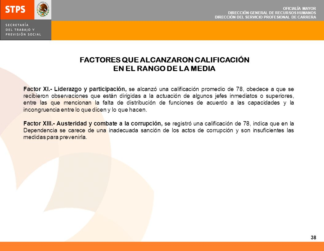 FACTORES QUE ALCANZARON CALIFICACIÓN