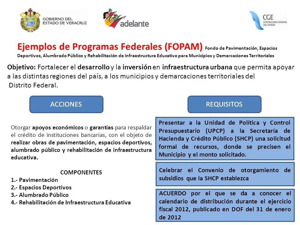 Ejemplos de Programas Federales (FOPAM) Fondo de Pavimentación, Espacios Deportivos, Alumbrado Público y Rehabilitación de Infraestructura Educativo para Municipios y Demarcaciones Territoriales