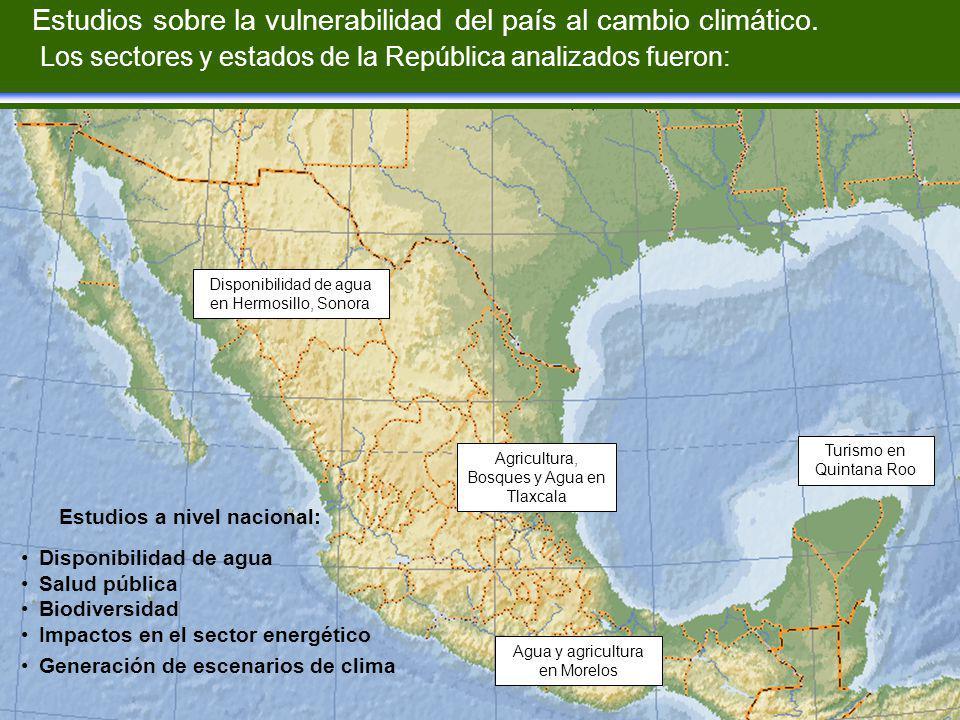 Estudios sobre la vulnerabilidad del país al cambio climático.