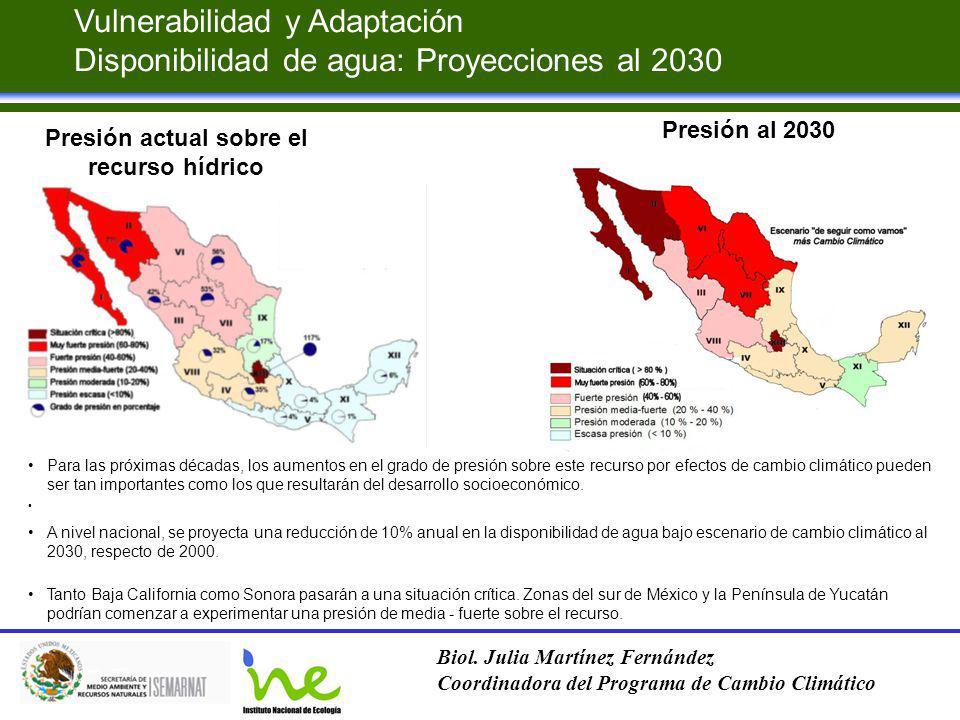 Presión actual sobre el recurso hídrico