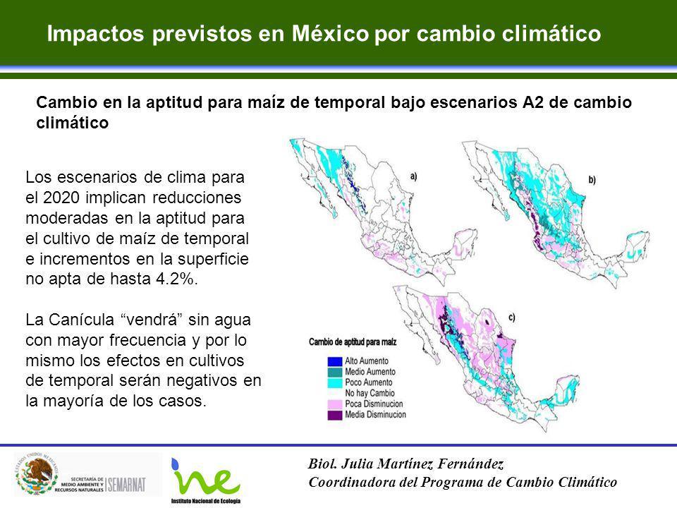 Impactos previstos en México por cambio climático