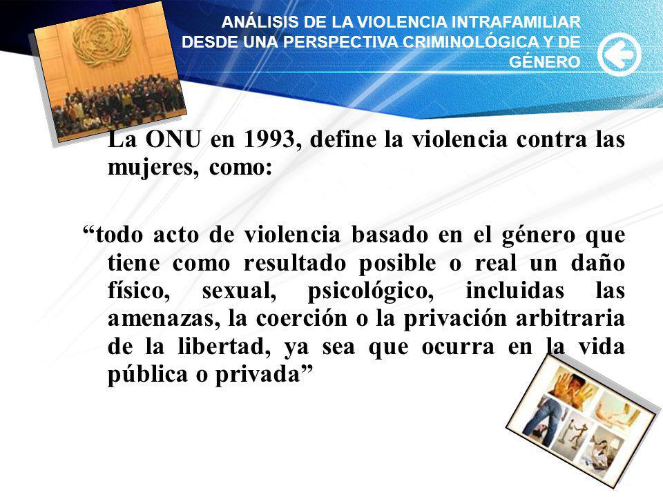 La ONU en 1993, define la violencia contra las mujeres, como: