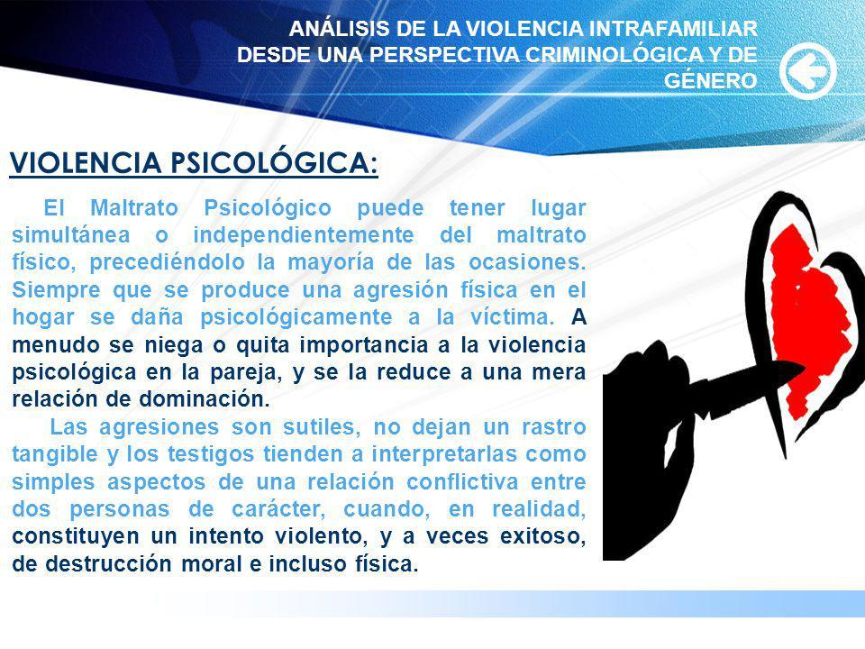 VIOLENCIA PSICOLÓGICA: