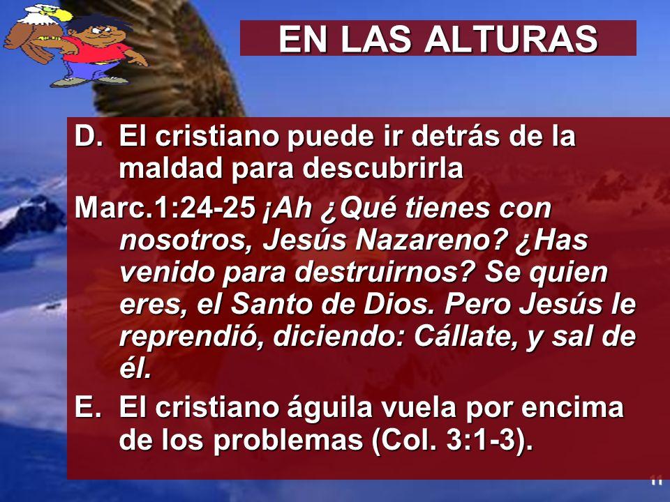 EN LAS ALTURAS El cristiano puede ir detrás de la maldad para descubrirla.