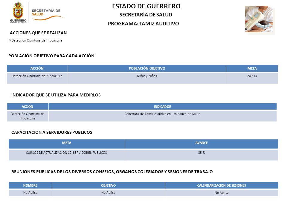 PROGRAMA: TAMIZ AUDITIVO CALENDARIZACION DE SESIONES