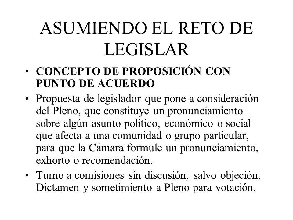 ASUMIENDO EL RETO DE LEGISLAR