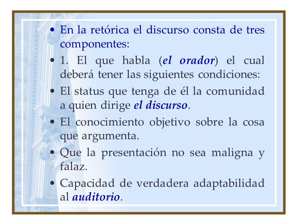 En la retórica el discurso consta de tres componentes: