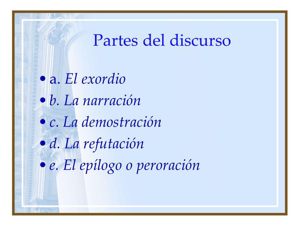 Partes del discurso a. El exordio b. La narración c. La demostración