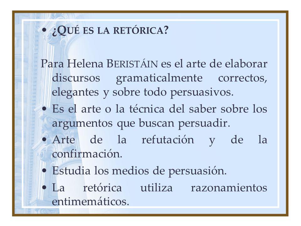 ¿Qué es la retórica Para Helena Beristáin es el arte de elaborar discursos gramaticalmente correctos, elegantes y sobre todo persuasivos.