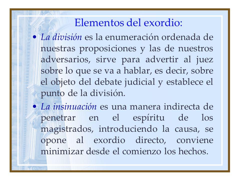 Elementos del exordio: