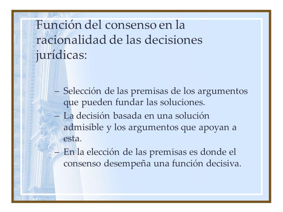 Función del consenso en la racionalidad de las decisiones jurídicas: