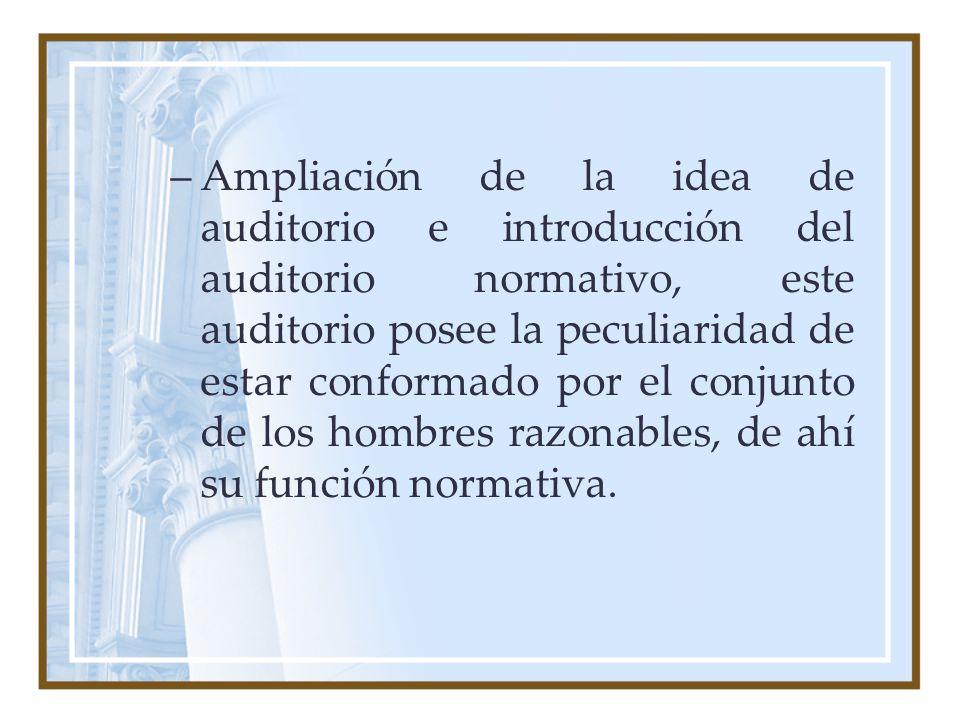 Ampliación de la idea de auditorio e introducción del auditorio normativo, este auditorio posee la peculiaridad de estar conformado por el conjunto de los hombres razonables, de ahí su función normativa.