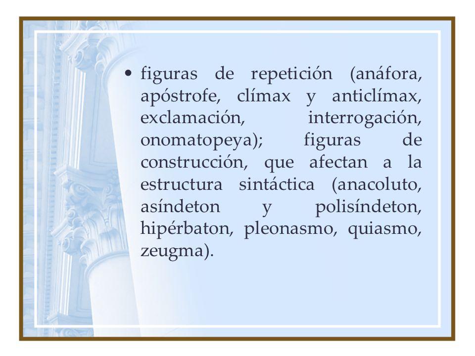 figuras de repetición (anáfora, apóstrofe, clímax y anticlímax, exclamación, interrogación, onomatopeya); figuras de construcción, que afectan a la estructura sintáctica (anacoluto, asíndeton y polisíndeton, hipérbaton, pleonasmo, quiasmo, zeugma).