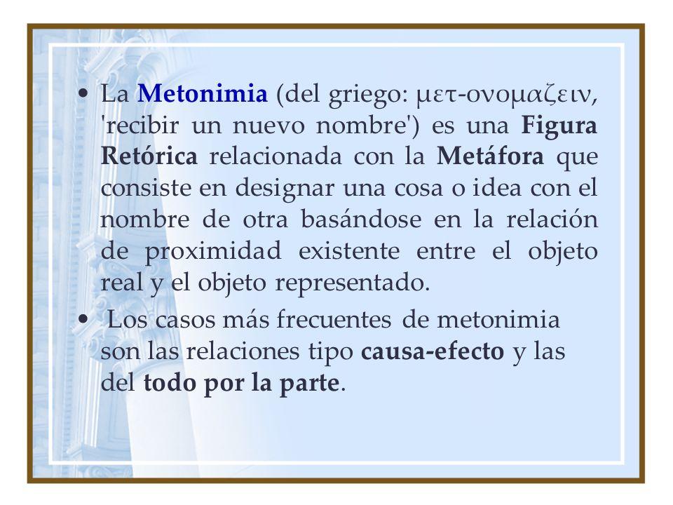 La Metonimia (del griego: μετ-ονομαζειν, recibir un nuevo nombre ) es una Figura Retórica relacionada con la Metáfora que consiste en designar una cosa o idea con el nombre de otra basándose en la relación de proximidad existente entre el objeto real y el objeto representado.