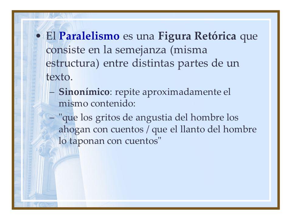 El Paralelismo es una Figura Retórica que consiste en la semejanza (misma estructura) entre distintas partes de un texto.