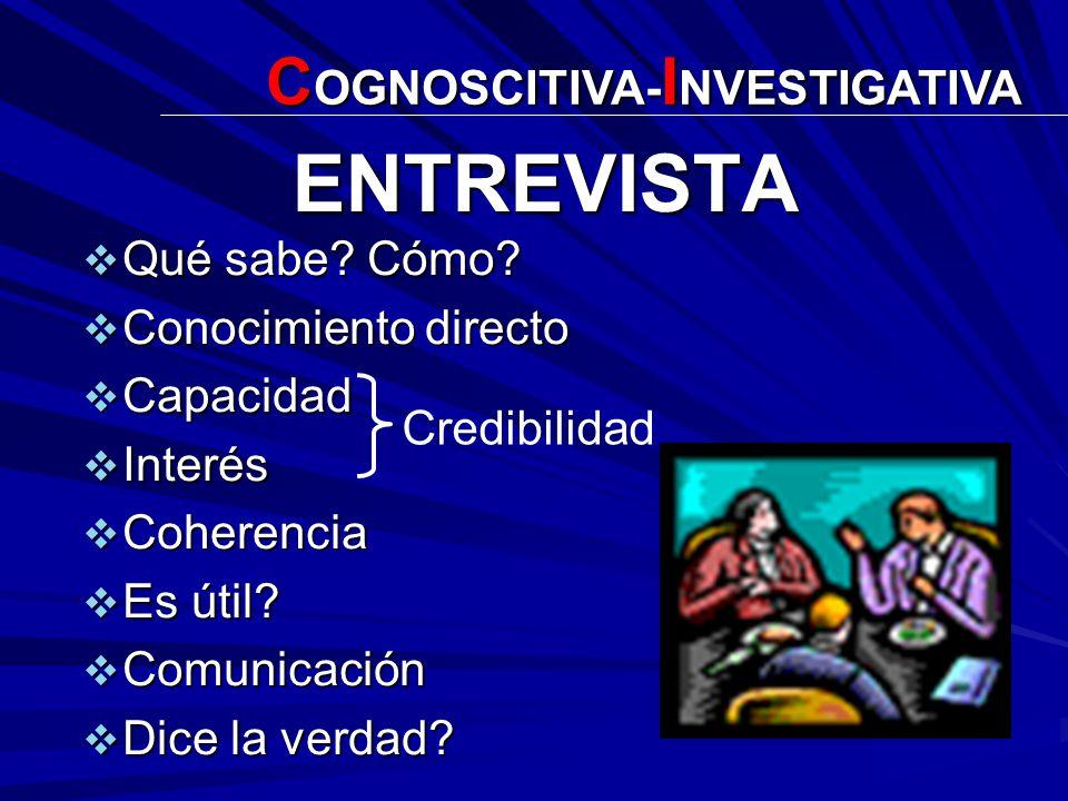 ENTREVISTA COGNOSCITIVA-INVESTIGATIVA Qué sabe Cómo