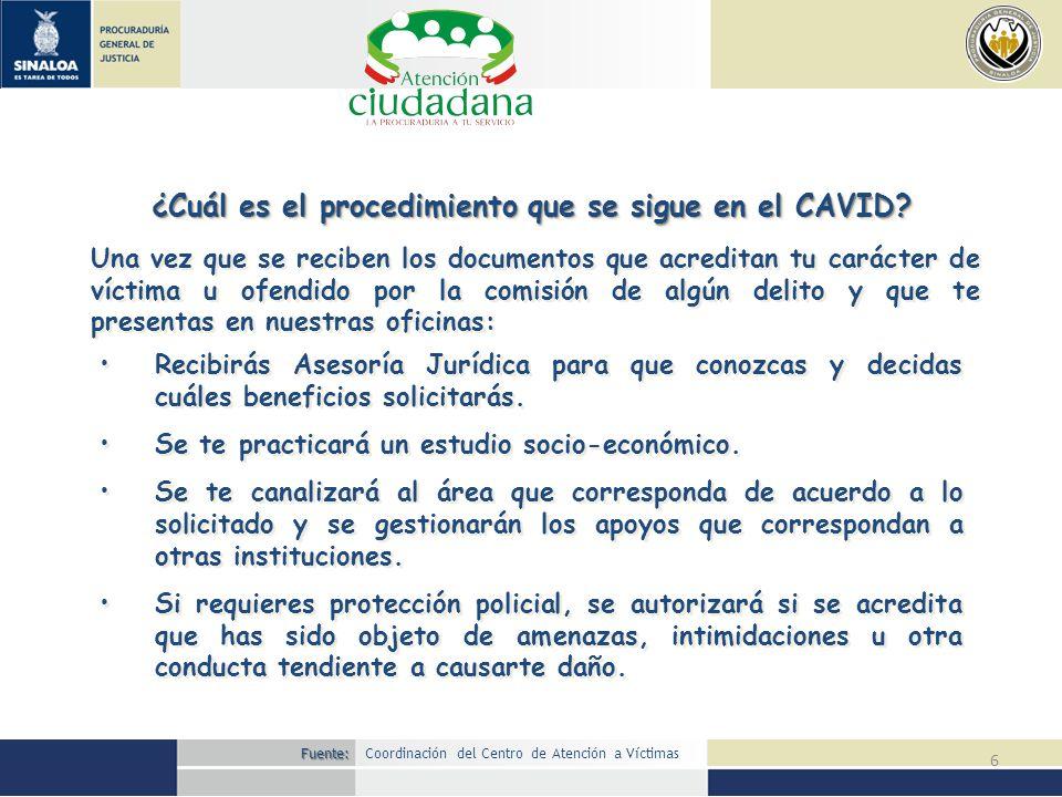 ¿Cuál es el procedimiento que se sigue en el CAVID
